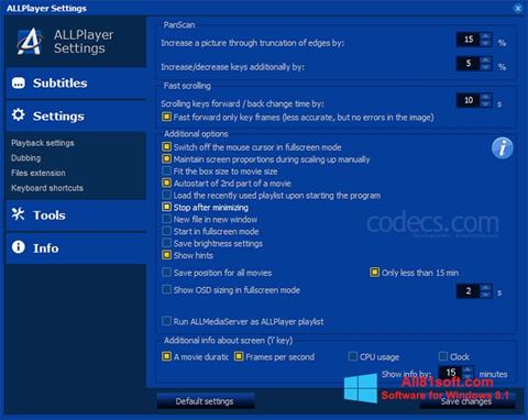 Skærmbillede ALLPlayer Windows 8.1