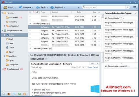 Skærmbillede FoxMail Windows 8.1