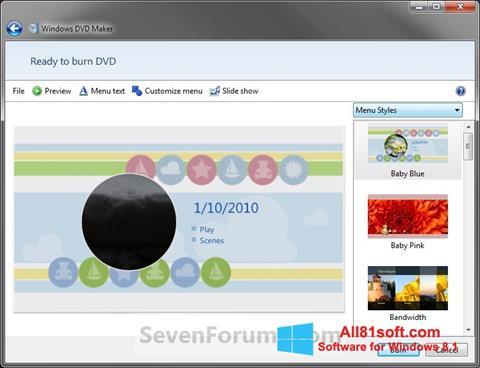 Skærmbillede DVD Maker Windows 8.1