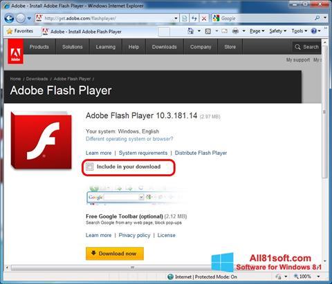 Skærmbillede Adobe Flash Player Windows 8.1