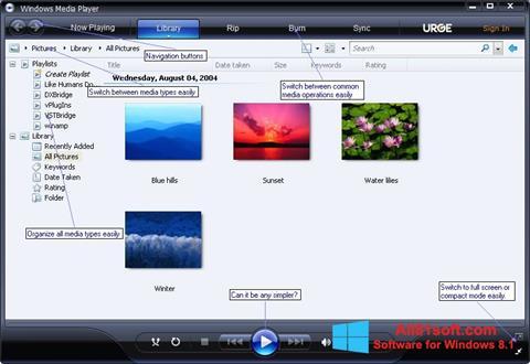 Skærmbillede Media Player Windows 8.1