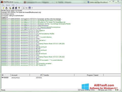 Skærmbillede FileZilla Server Windows 8.1