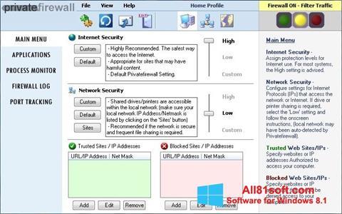 Skærmbillede Privatefirewall Windows 8.1