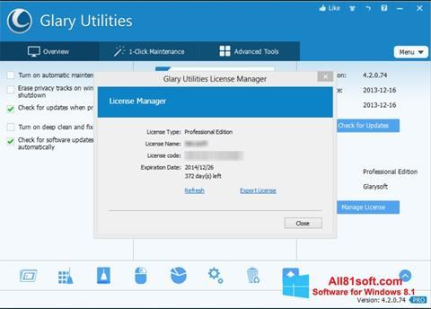 Skærmbillede Glary Utilities Windows 8.1