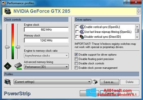 Skærmbillede PowerStrip Windows 8.1