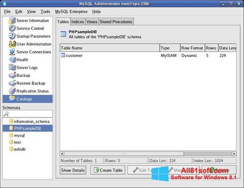 Skærmbillede MySQL Windows 8.1