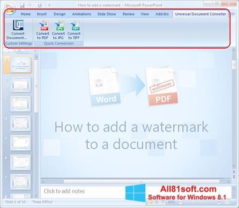 Skærmbillede Microsoft PowerPoint Windows 8.1