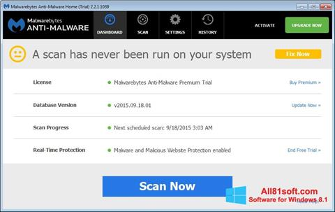 Skærmbillede Malwarebytes Anti-Malware Free Windows 8.1