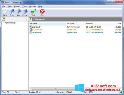 Skærmbillede IZArc Windows 8.1