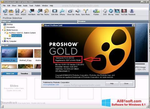 Skærmbillede ProShow Gold Windows 8.1