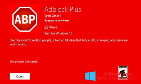 Skærmbillede Adblock Plus Windows 8.1