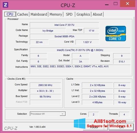 Skærmbillede CPU-Z Windows 8.1