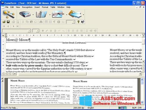 Skærmbillede CuneiForm Windows 8.1