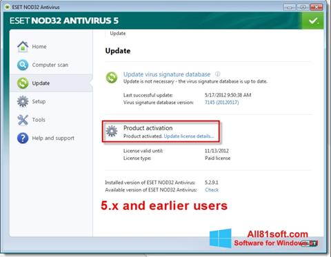 Skærmbillede ESET NOD32 Windows 8.1
