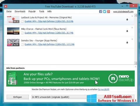 Skærmbillede Free YouTube Download Windows 8.1