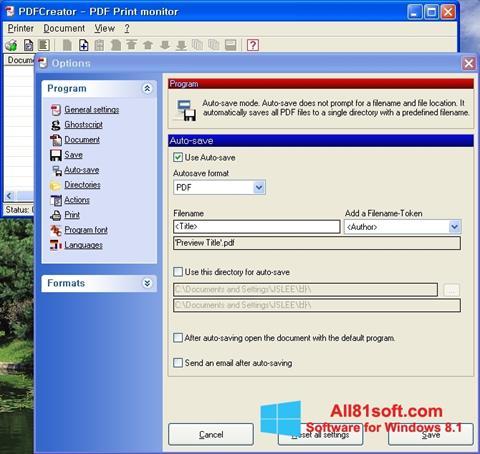 Skærmbillede PDFCreator Windows 8.1