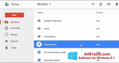 Skærmbillede Google Drive Windows 8.1