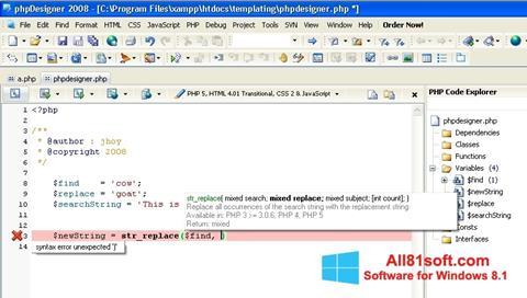 Skærmbillede phpDesigner Windows 8.1