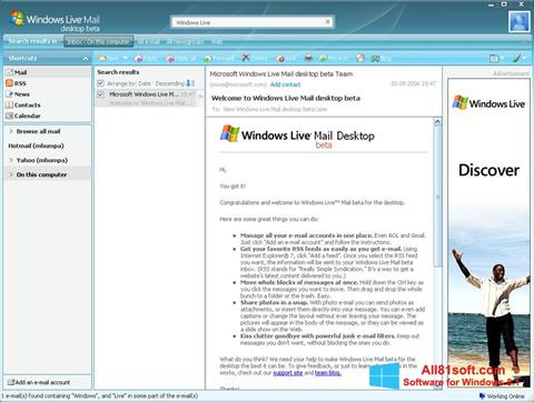 Skærmbillede Windows Live Mail Windows 8.1