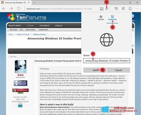 Skærmbillede Microsoft Edge Windows 8.1
