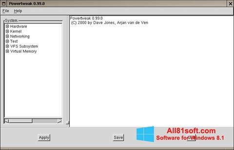 Skærmbillede PowerTweak Windows 8.1