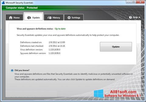Skærmbillede Microsoft Security Essentials Windows 8.1