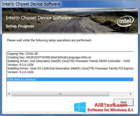 Skærmbillede Intel Chipset Device Software Windows 8.1