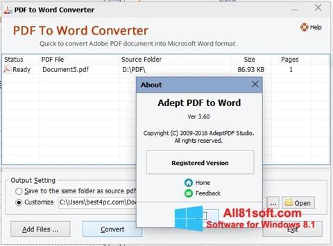 Skærmbillede PDF to Word Converter Windows 8.1
