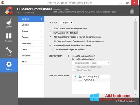 Skærmbillede CCleaner Windows 8.1