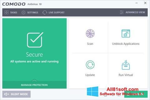 Skærmbillede Comodo Antivirus Windows 8.1