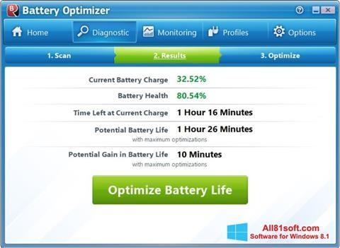 Skærmbillede Battery Optimizer Windows 8.1