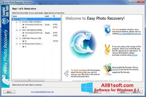 Skærmbillede Easy Photo Recovery Windows 8.1
