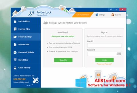 Skærmbillede Folder Lock Windows 8.1