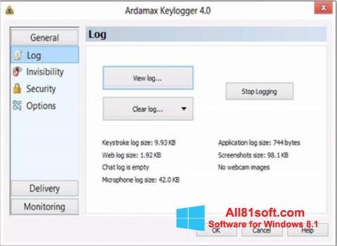 Skærmbillede Ardamax Keylogger Windows 8.1