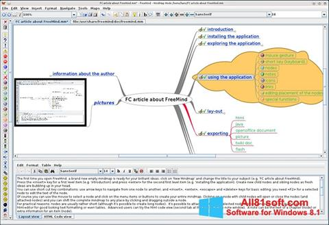 Skærmbillede FreeMind Windows 8.1